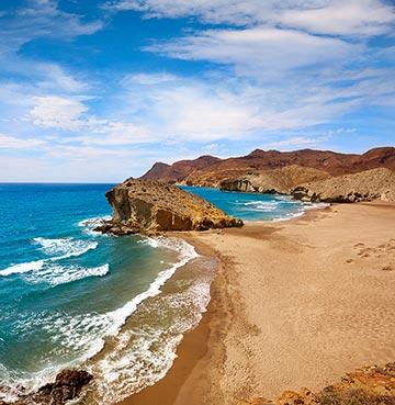 Desert landscape meets the sea at Cabo de Gata National Park