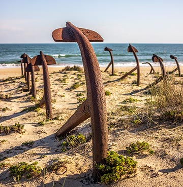 Cemetery of Anchors on Praia do Barril beach, the Algarve
