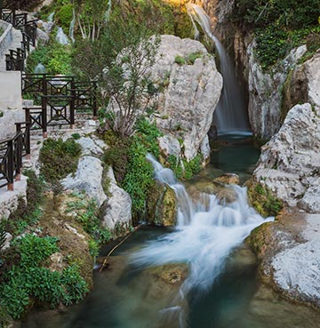 Cascading water of the Algar Waterfalls in Costa Blanca