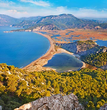Aerial view of Iztuzu Beach in the Dalaman Region, Turkey