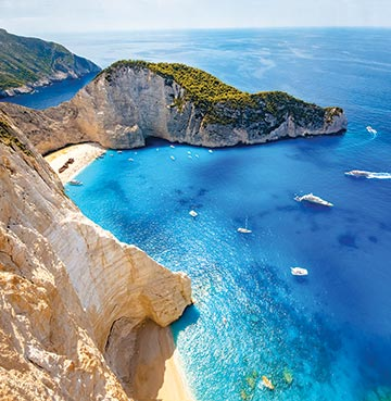 Shipwreck beach on the Greek island of Zakynthos