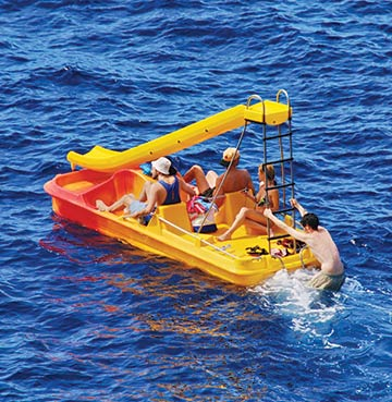 Family fun on a yellow pedalo