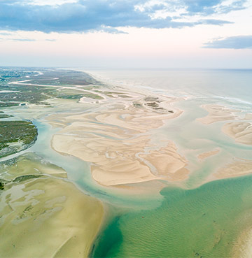 View of Ria Formosa Natural Park's coastal lagoon from above, The Algarve