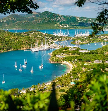 English harbour and Nelsons Dockyard in Antigua, viewpoint of Shirley Heights and Freeman's bay