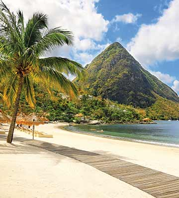 View of The Pitons from the beach, St. Lucia