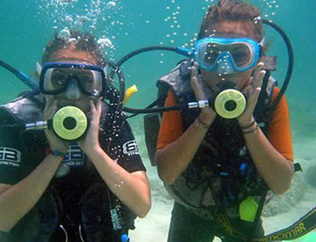 Underwater shot of two scuba-divers